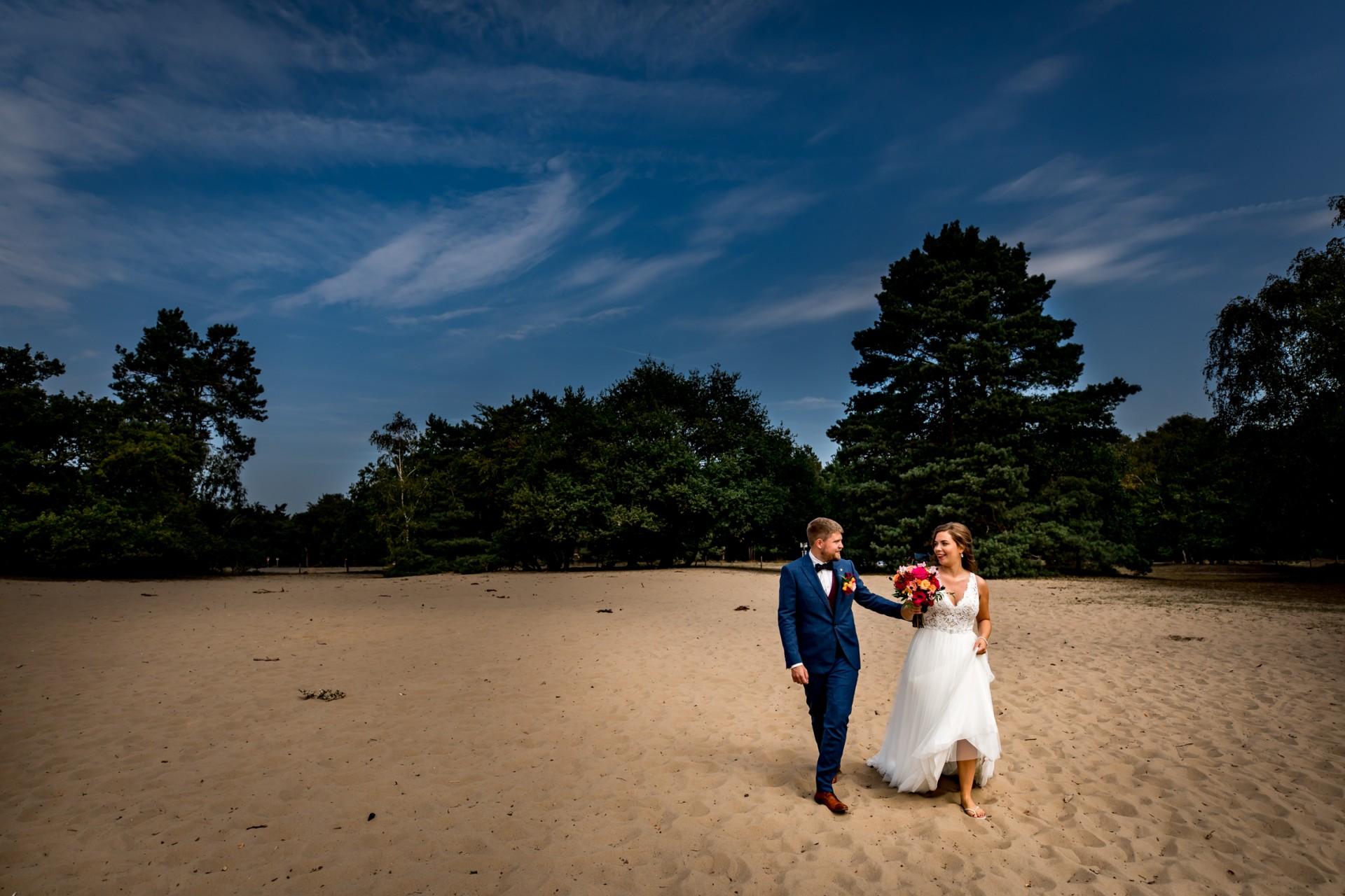 bruidsreportage en trouwen bij de Posbank op de Veluwe. Elainefotografie